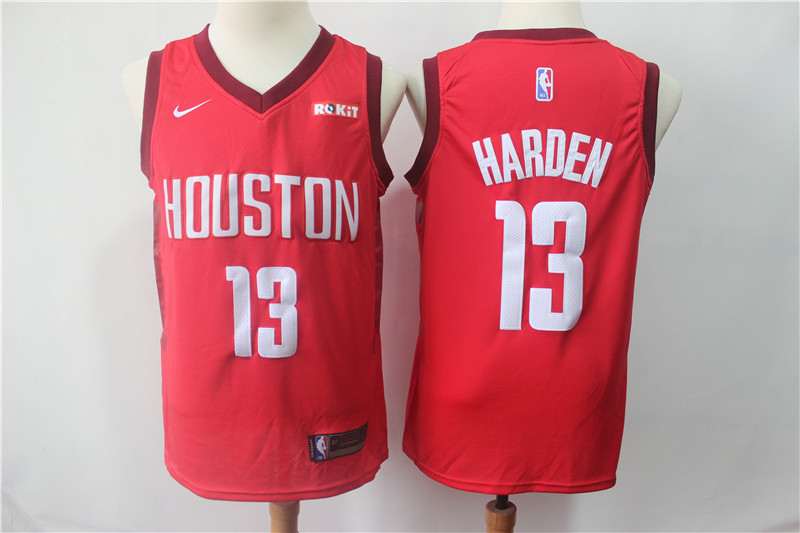 Men's Houston Rockets #13 James Harden Red 2018/19 Earned Edition Swingman Stitched NBA Jersey