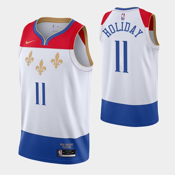 Men's New Orleans Pelicans #11 Jrue Holiday 2020 White City Edition Stitched Jersey