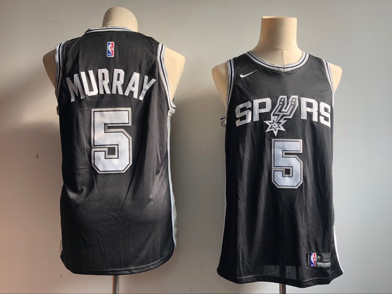 Men's San Antonio Spurs #5 Dejounte Murray Black Icon Edition Swingman Stitched NBA Jersey