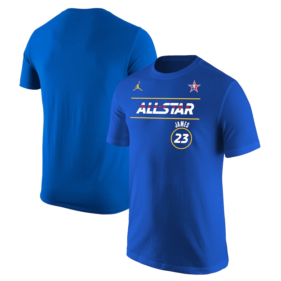 Men's 2021 All-Star #23 LeBron James Blue Royal T-Shirt