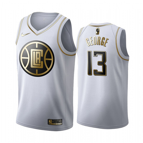 Men's Los Angeles Clippers #13 Paul George White 2019 Golden Edition Stitched NBA Jersey
