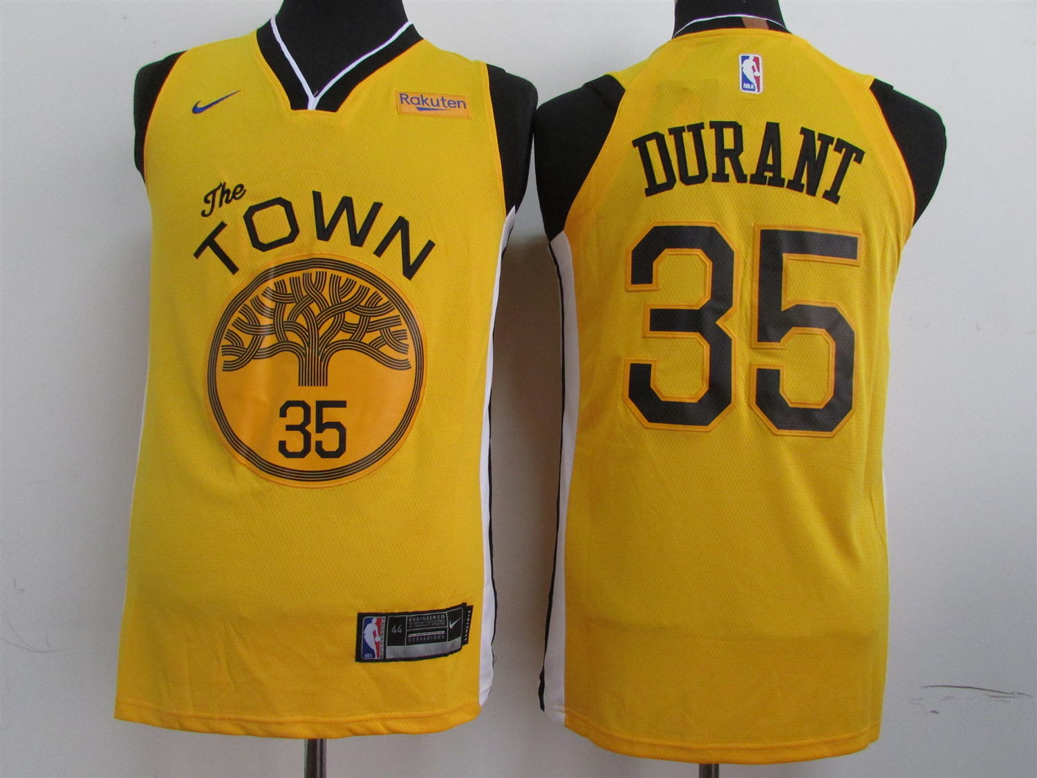Men's Golden State Warriors #35 Kevin Durant Yellow 2019 Earned Edition Swingman Stitched NBA Jersey