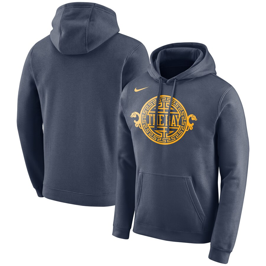 Men's Golden State Warriors Navy City Edition Logo Essential Pullover Hoodie