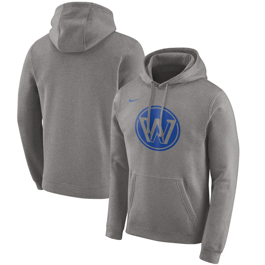 Men's Golden State Warriors Heather Gray City Edition Logo Essential Pullover Hoodie