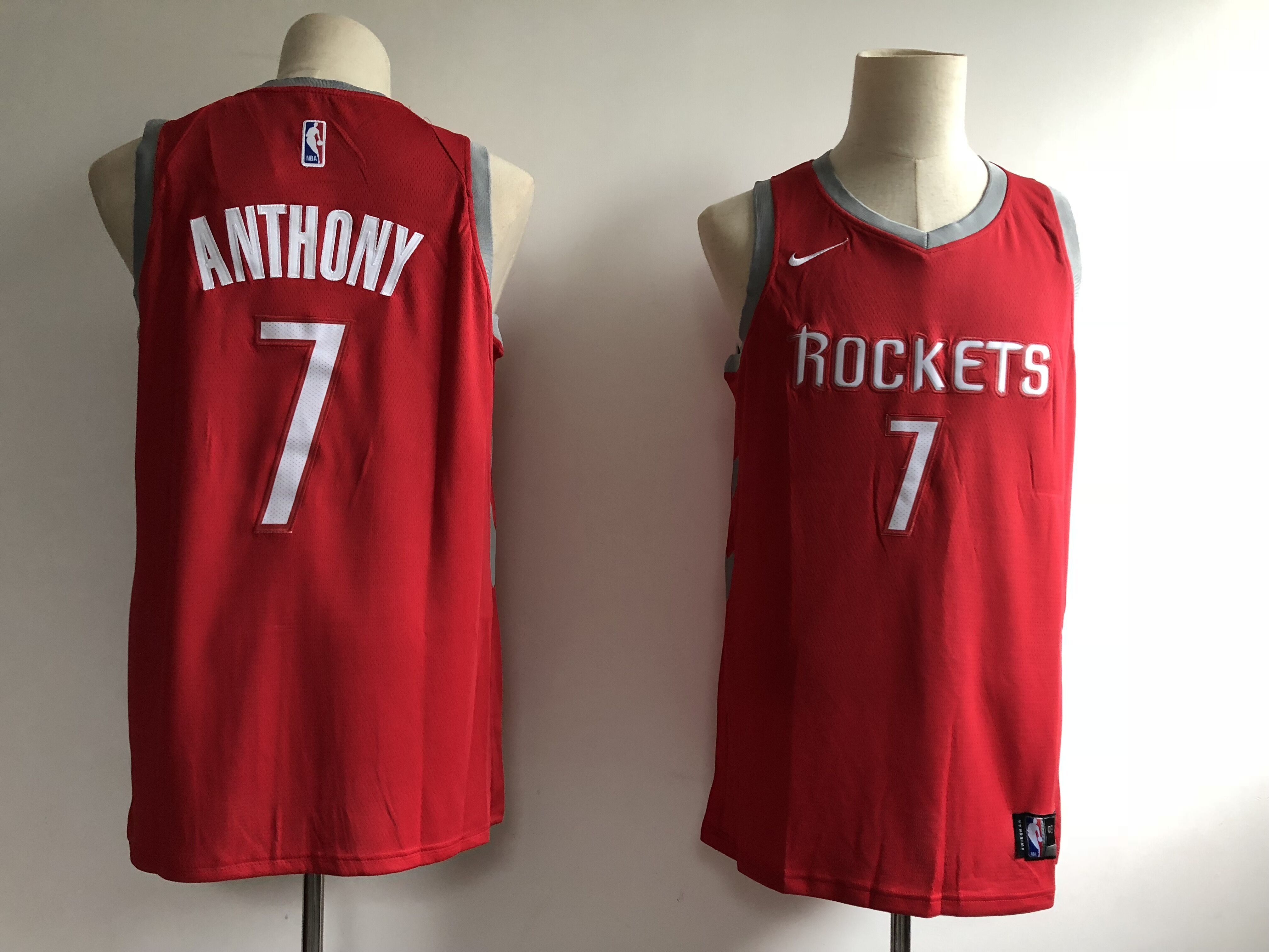 Men's Houston Rockets #7 Carmelo Anthony Red Swingman Stitched NBA Jersey
