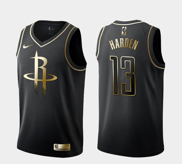 Men's Houston Rockets #13 James Harden Black Golden Edition Stitched NBA Jersey