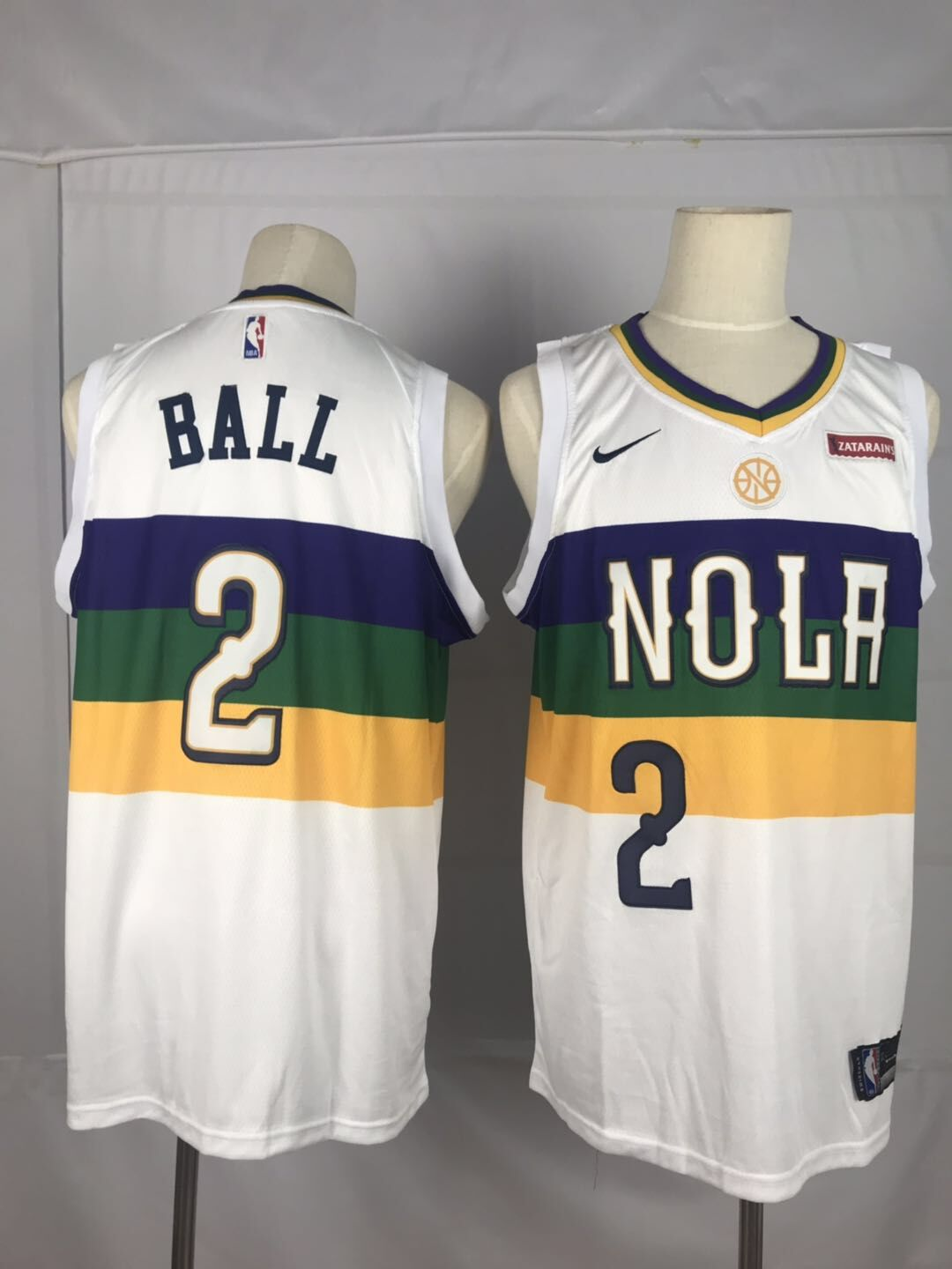 Men's New Orleans Pelicans #2 Lonzo Ball White Earned Edition Swingman Stitched NBA Jersey