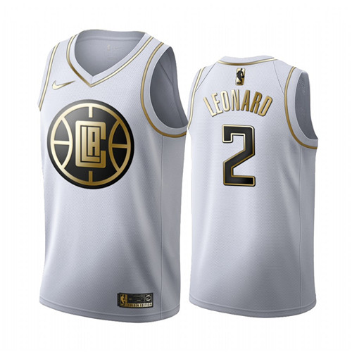 Men's Los Angeles Clippers #2 Kawhi Leonard White 2019 Golden Edition Stitched NBA Jersey