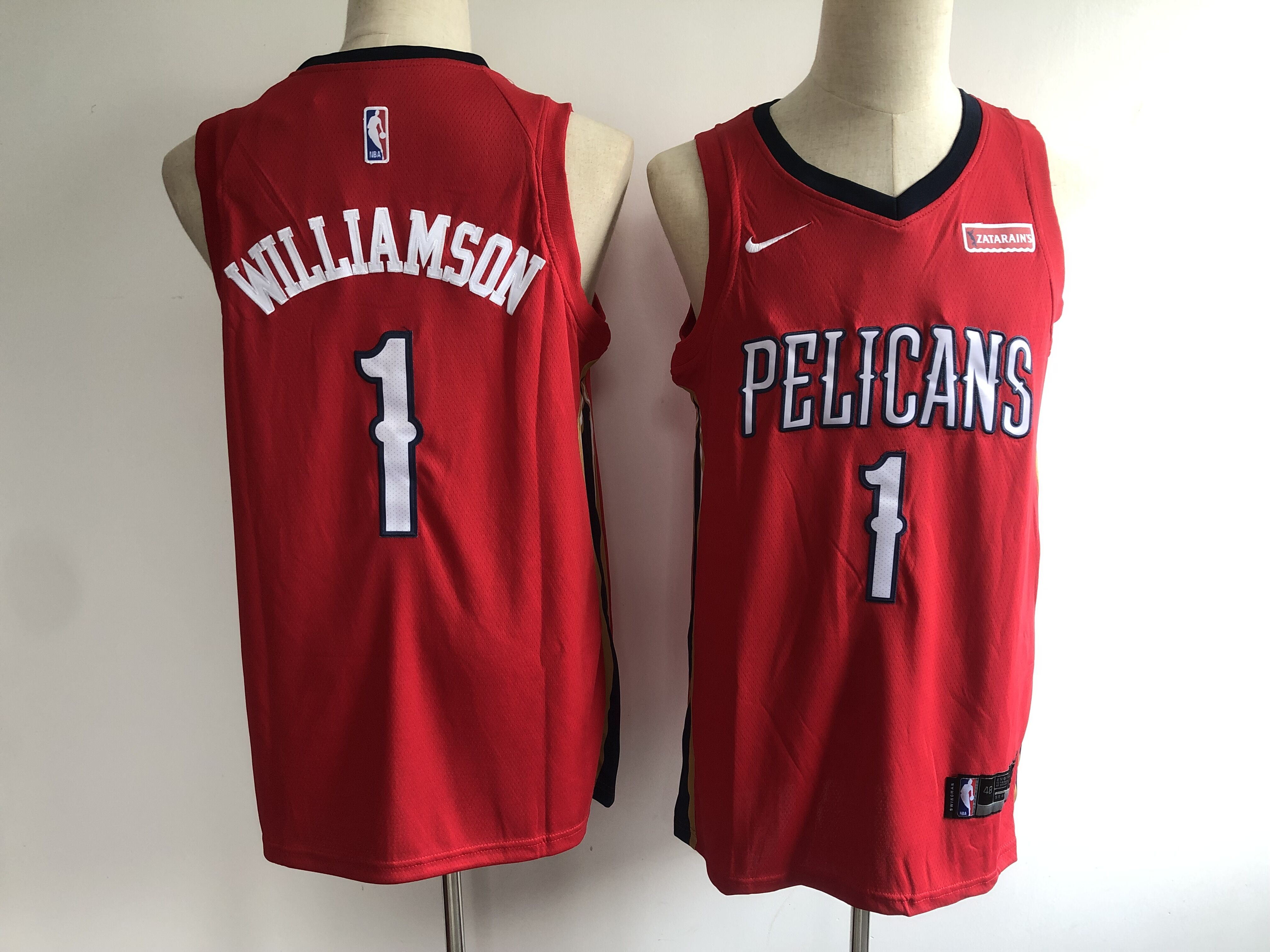 Men's New Orleans Pelicans #1 Zion Williamson Red Stitched NBA Jersey