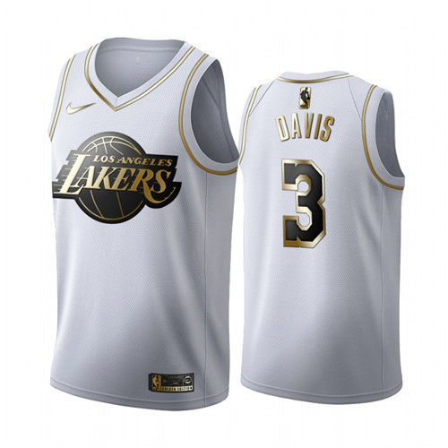 Men's Los Angeles Lakers #3 Anthony Davis White 2019 Golden Edition Stitched NBA Jersey