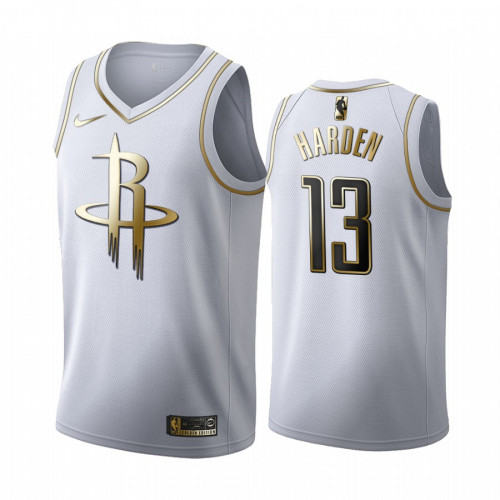 Men's Houston Rockets #13 James Harden White Golden Edition Stitched NBA Jersey