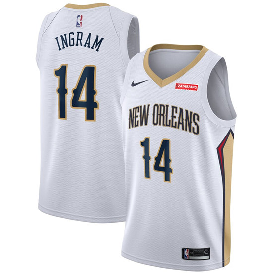 Men's New Orleans Pelicans #14 Brandon Ingram White Stitched NBA Jersey