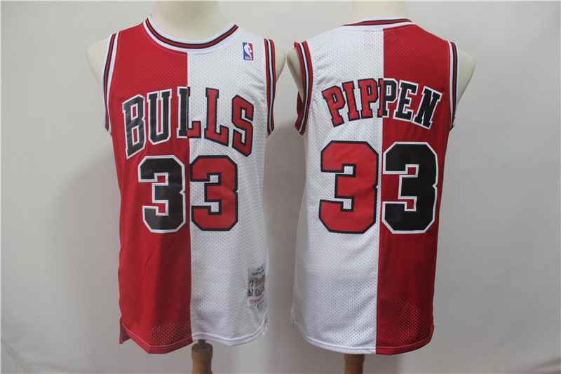Men's Chicago Bulls #33 Scottie Pippen Red White Split 1997/98 Hardwood Classics Stitched NBA Jersey