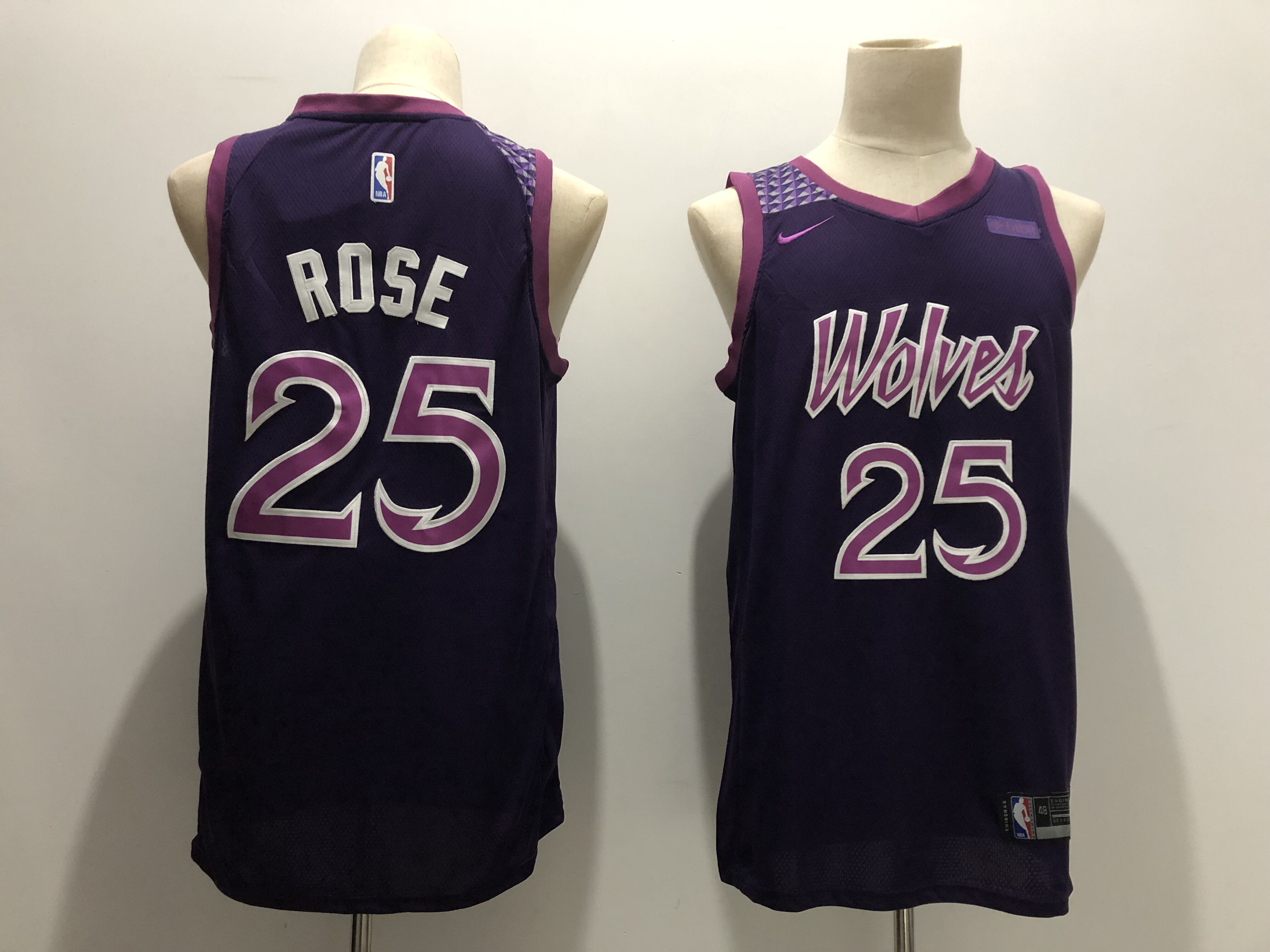 Men's Minnesota Timberwolves #25 Derrick Rose Purple 2018/19 City Edition Swingman Stitched NBA Jersey