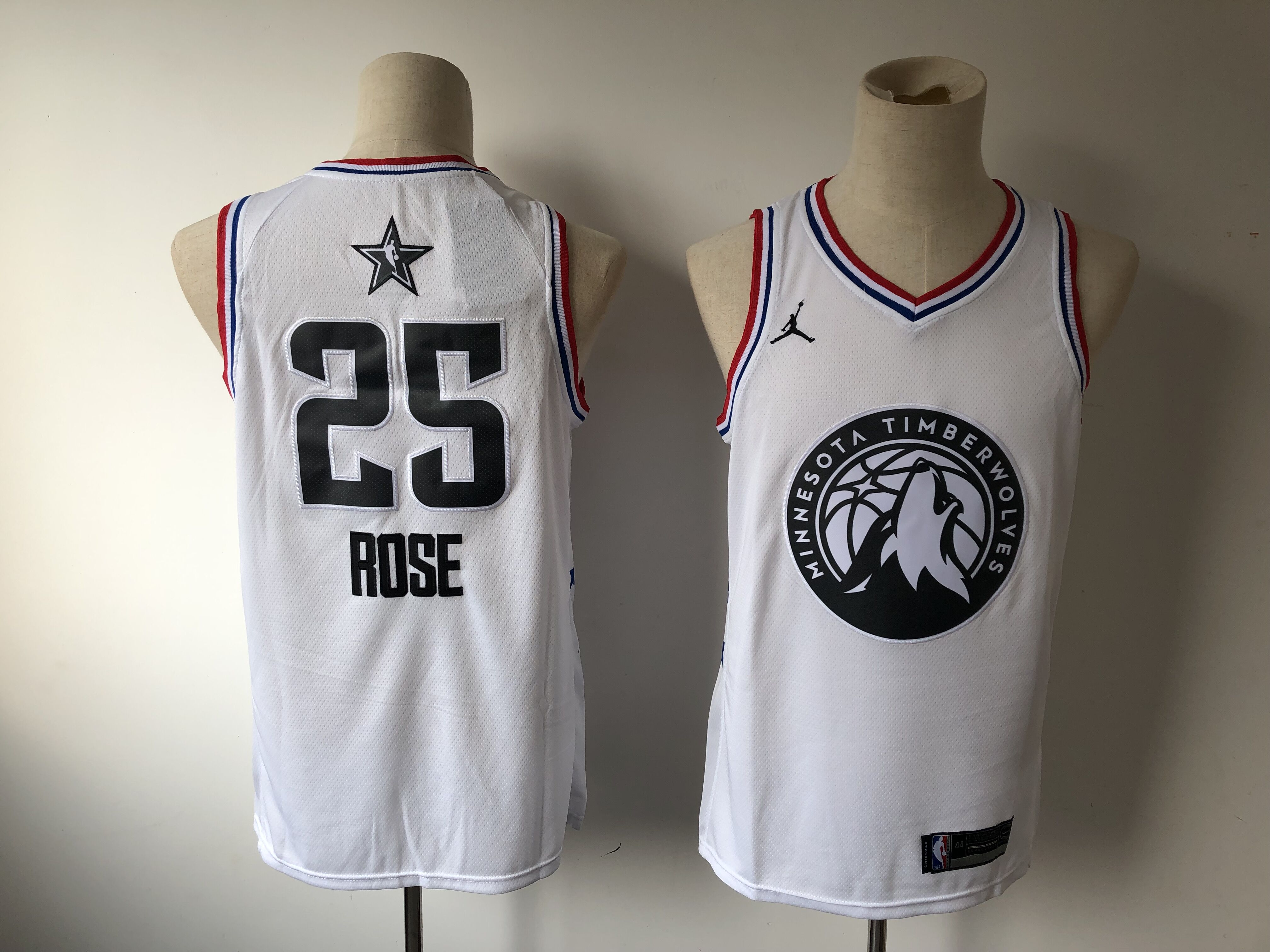 Men's Minnesota Timberwolves #25 Derrick Rose White 2019 NBA All Star Stitched NBA Jersey