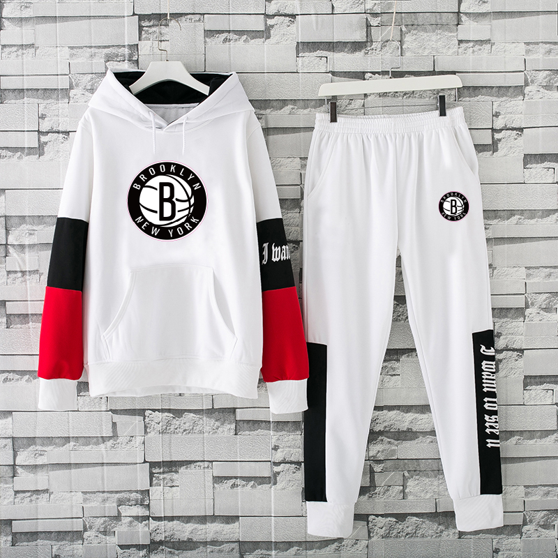 Men's Brooklyn Nets 2019 White Tracksuits Hoodie Suit