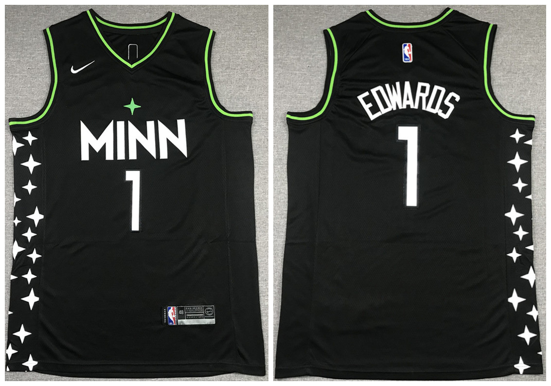 Men's Minnesota Timberwolves #1 Anthony Edwards Black City Swingman Stitched Jersey