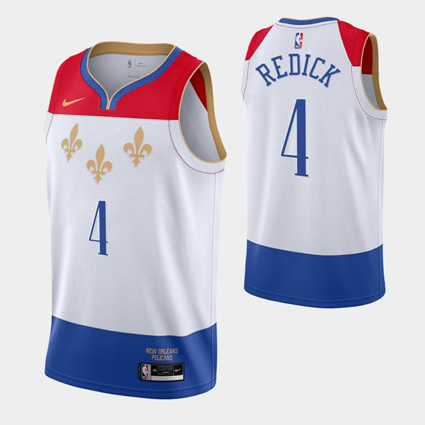 Men's New Orleans Pelicans #4 J.J. Redick 2020 White City Edition Stitched Jersey