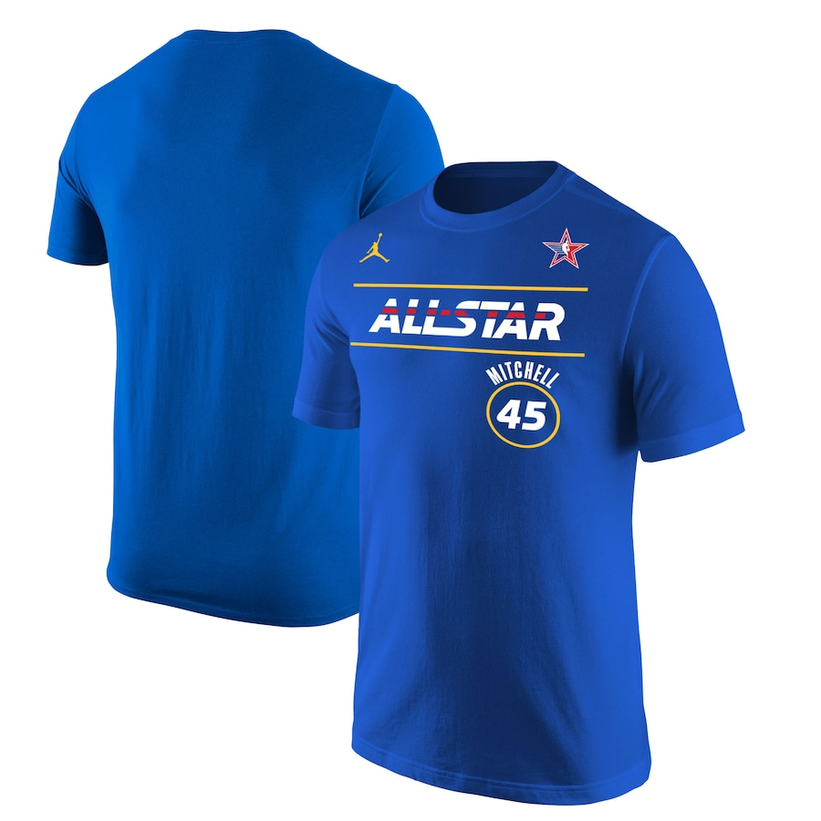 Men's 2021 All-Star #45 Donovan Mitchell Blue Royal T-Shirt