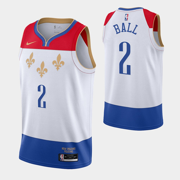 Men's New Orleans Pelicans #2 Lonzo Ball 2020 White City Edition Stitched Jersey