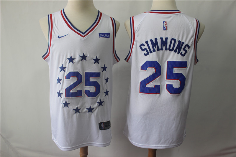 Men's Philadelphia 76ers #25 Ben Simmons White 2018/19 Earned Edition Swingman Stitched NBA Jersey