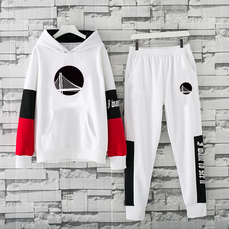 Men's Golden State Warriors 2019 White Tracksuits Hoodie Suit