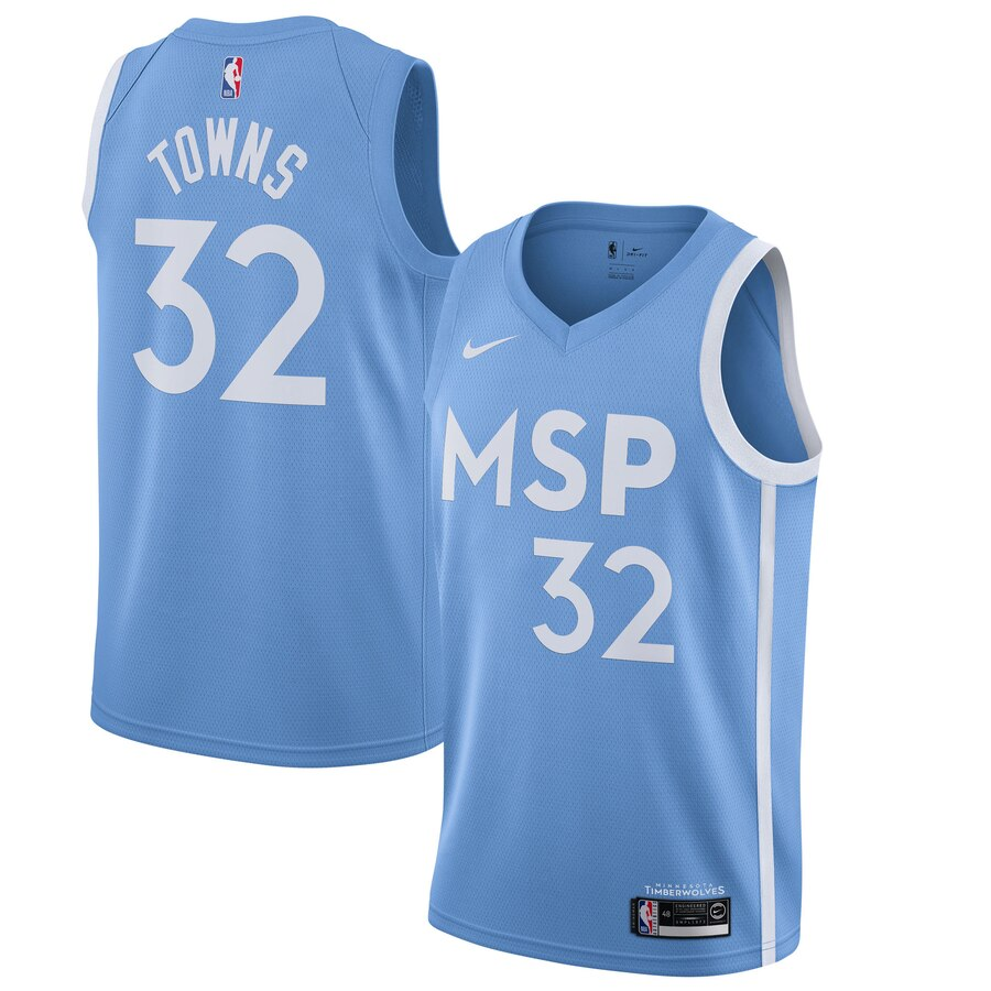 Men's Minnesota Timberwolves #32 Karl-Anthony Towns Blue 2019 City Edition Stitched NBA Jersey