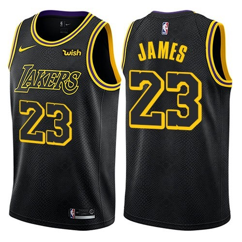 Men's Los Angeles Lakers #23 LeBron James Black City Edition Swingman Stitched NBA Jersey