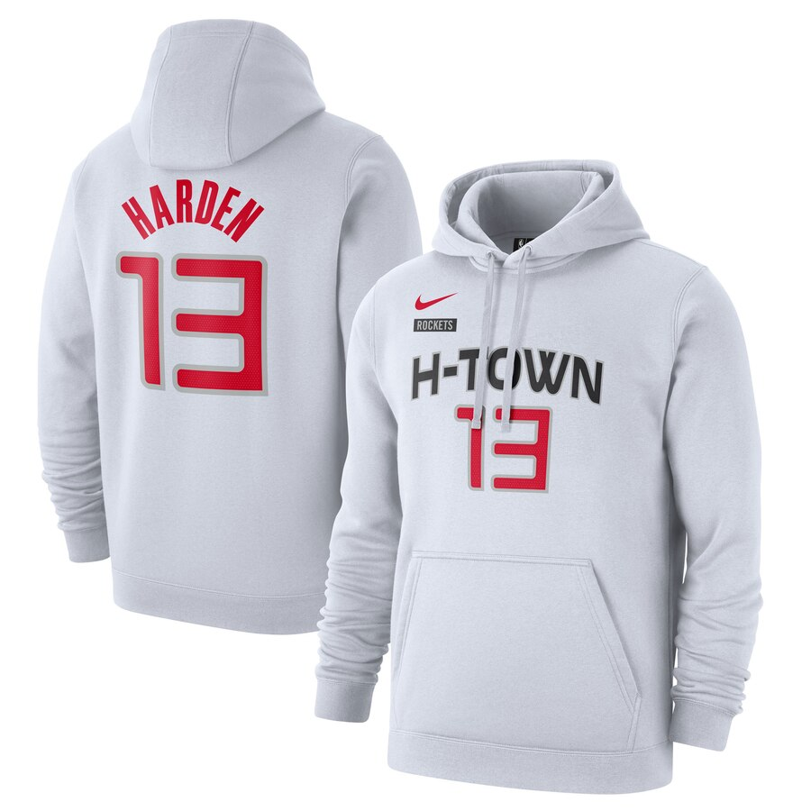Men's Houston Rockets #13 James Harden White City Edition Name & Number Pullover Hoodie