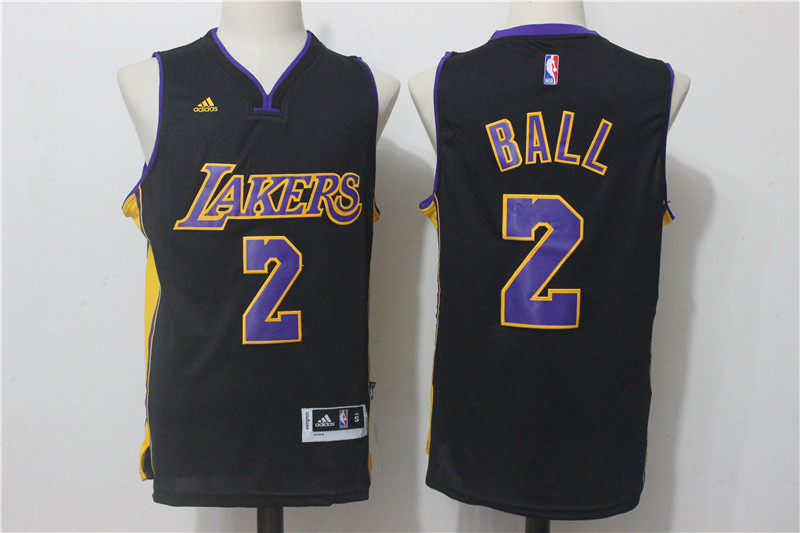 Men's Los Angeles Lakers #2 Lonzo Ball Black Stitched NBA Jersey