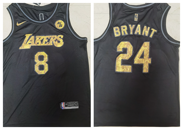 Men's Los Angeles Lakers Front #8 Back #24 Kobe Bryant Black Mamba Snake With Gold KB Patch And Number Stitched Jersey