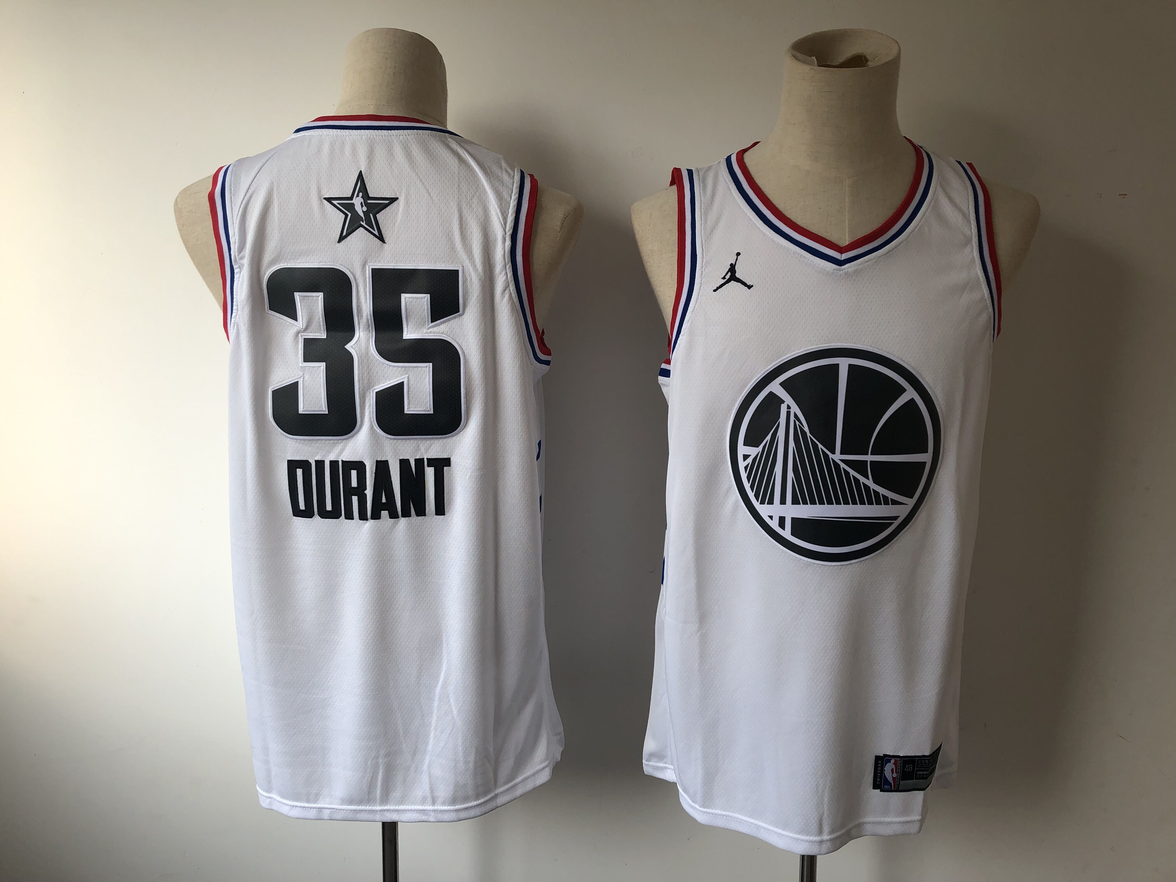 Men's Golden State Warriors #35 Kevin Durant White 2019 NBA All Star Stitched NBA Jersey