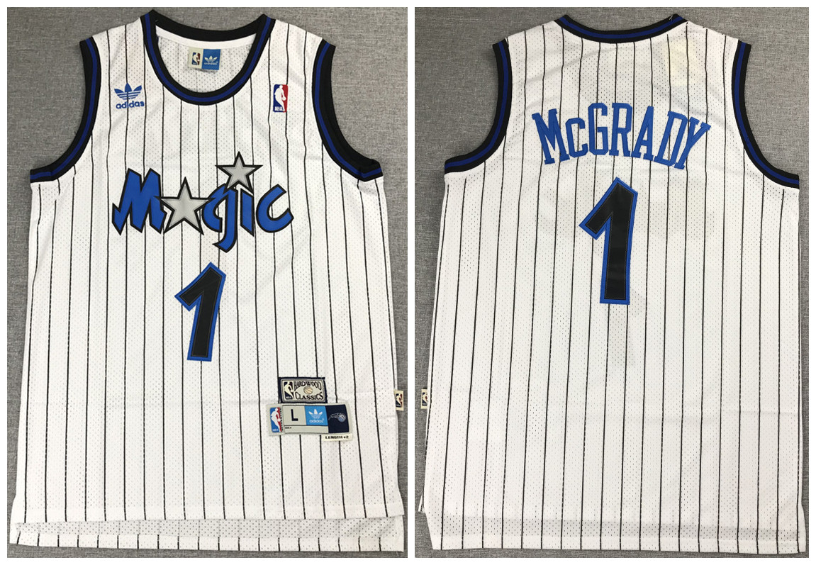 Men's Orlando Magic #1 Tracy McGrady White Throwback Stitched Jersey