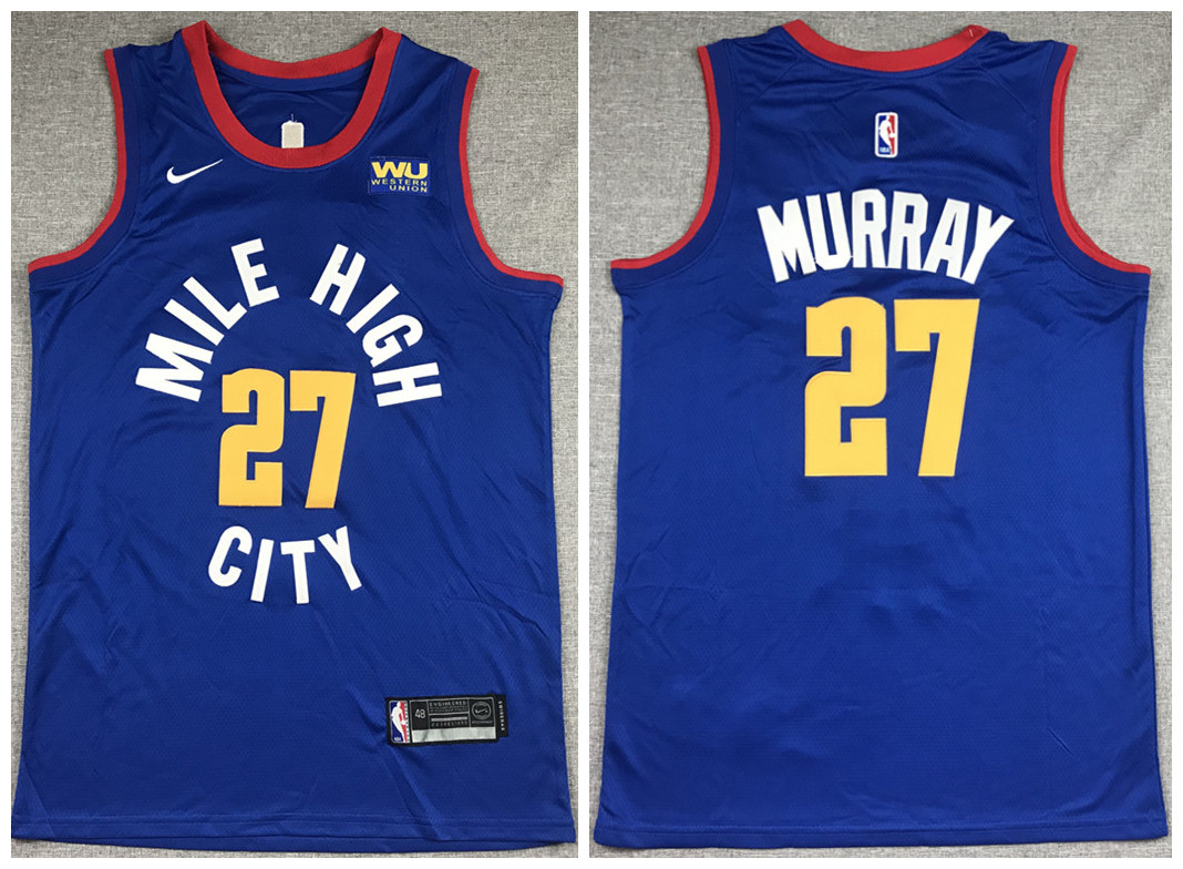 Men's Denver Nuggets #27 Jamal Murray Blue Stitched Jersey