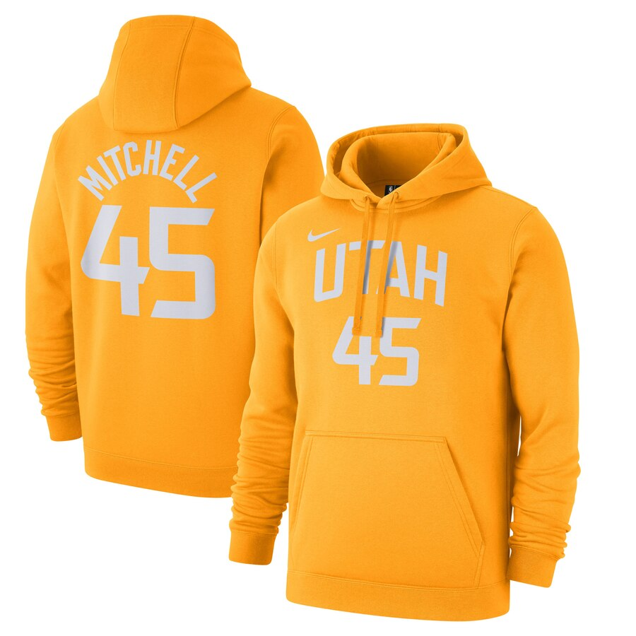 Men's Utah Jazz #45 Donovan Mitchell Gold City Edition Name & Number Pullover Hoodie