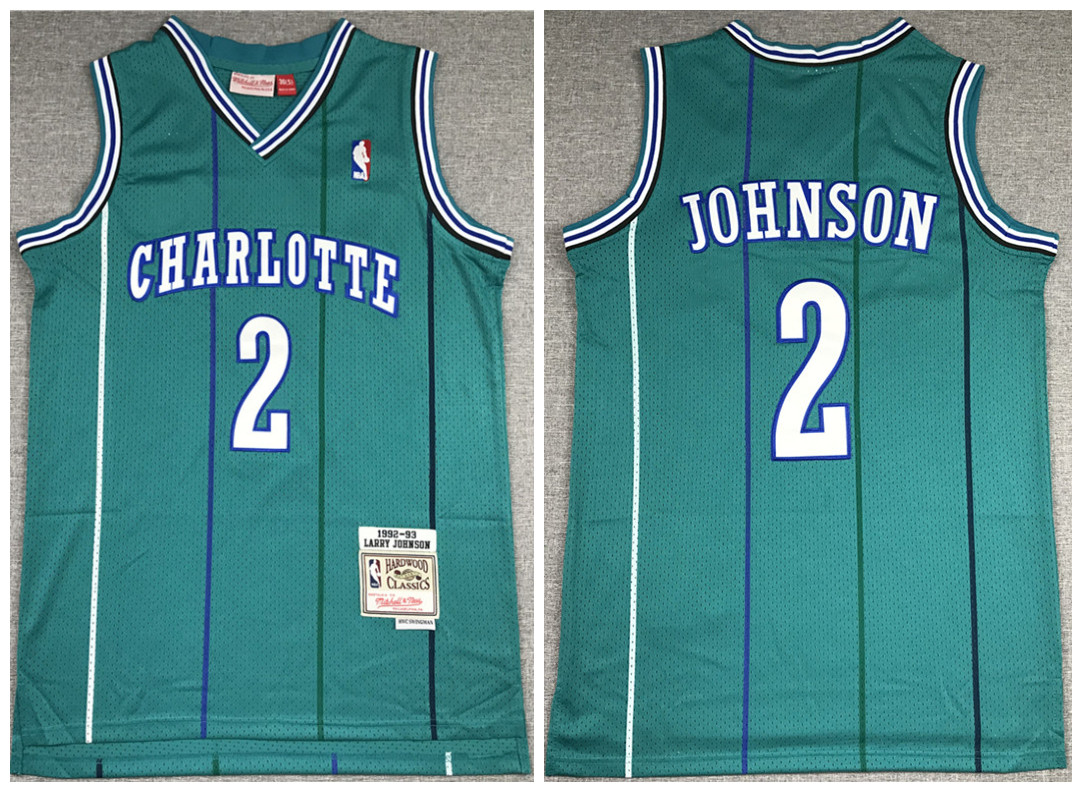 Men's New Orleans Hornets #2 Larry Johnson 1992-93 Green Throwback Stitched Jersey