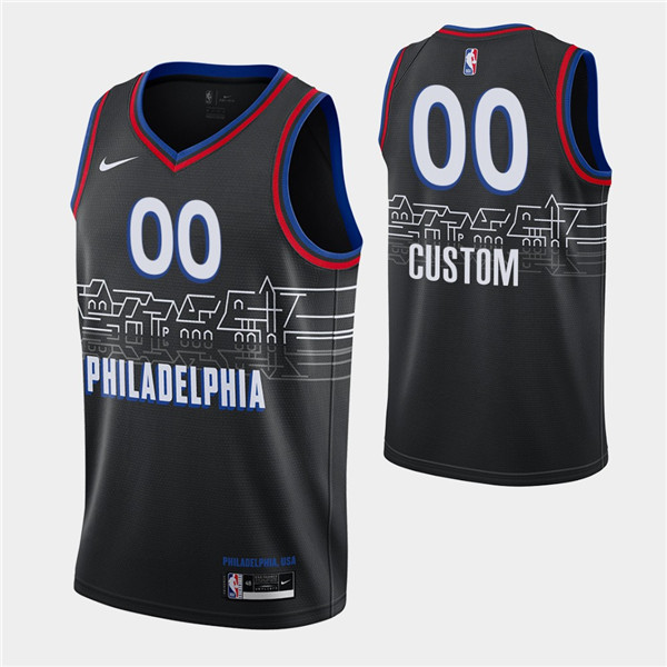 Men's Philadelphia 76ers Active Player Custom 2020-21 Black City Edition Stitched NBA Jersey