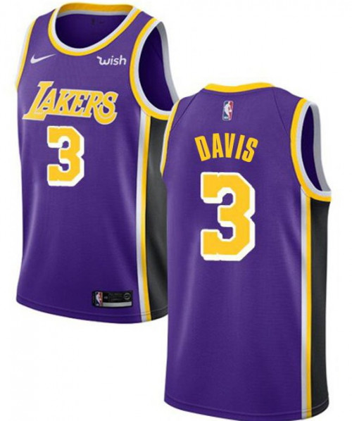 Men's Los Angeles Lakers #3 Anthony Davis Purple Stitched NBA Jersey