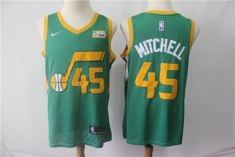 Men's Utah Jazz #45 Donovan Mitchell Green 2018/19 Earned Edition Swingman Stitched NBA Jersey