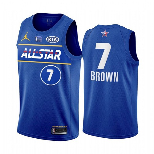 Men's 2021 All-Star #7 Jaylen Brown Blue Eastern Conference Stitched NBA Jersey