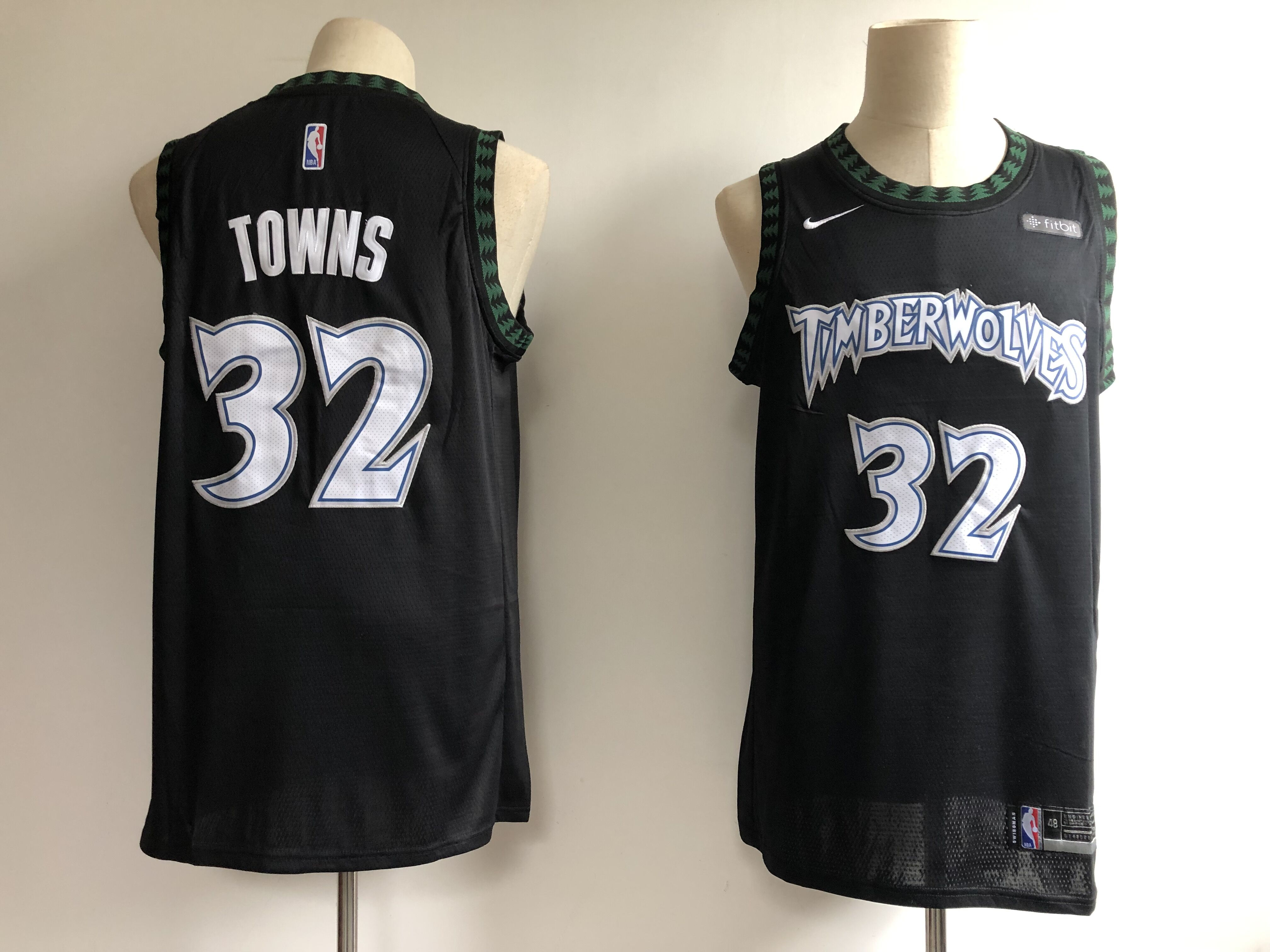 Men's Minnesota Timberwolves #32 Karl Anthony Towns Black Hardwood Classics Swingman Stitched NBA Jersey