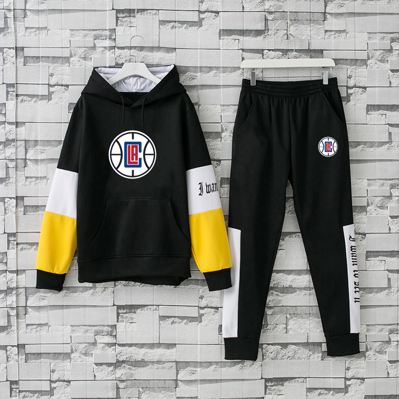Men's Los Angeles Clippers 2019 Black Tracksuits Hoodie Suit