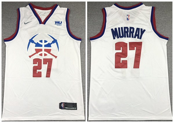 Men's Denver Nuggets #27 Jamal Murray White Stitched Jersey