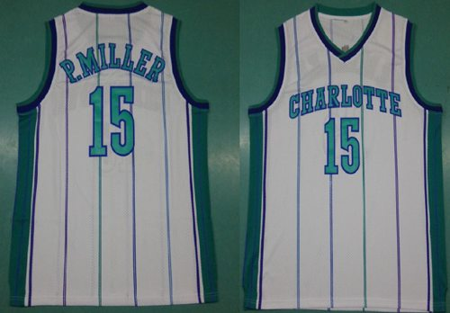 Mitchell And Ness Hornets #15 Percy Miller White Throwback Stitched NBA Jersey