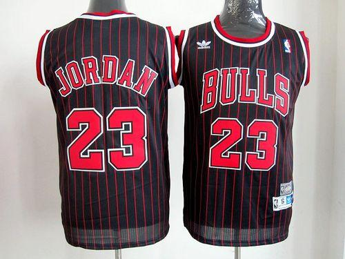 Bulls #23 Michael Jordan Black With Red Strip Throwback Stitched NBA Jersey