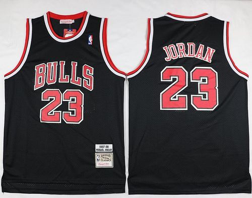 Mitchell And Ness Bulls #23 Michael Jordan Black Throwback Stitched NBA Jersey