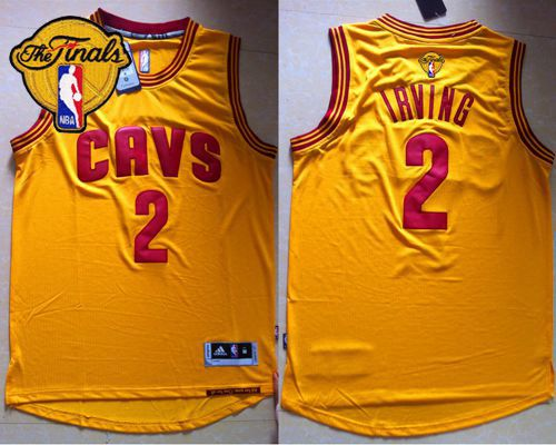 Cavaliers #2 Kyrie Irving Yellow Alternate The Finals Patch Stitched NBA Jersey