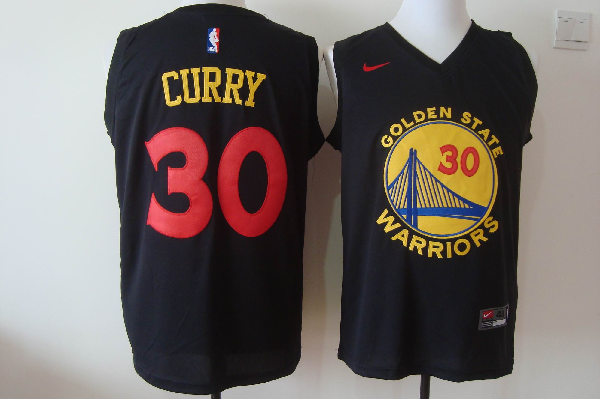 Men's Nike Golden State Warriors #30 Stephen Curry Black New Fashion Stitched NBA Jersey