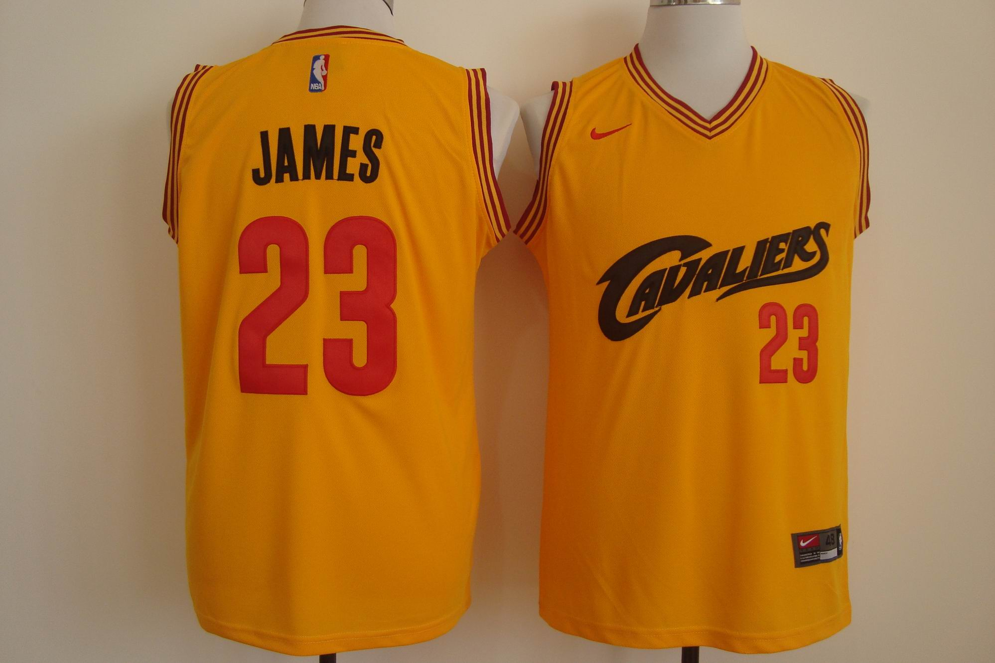 Men's Nike Cleveland Cavaliers #23 LeBron James Yellow and Red Stitched NBA Jersey