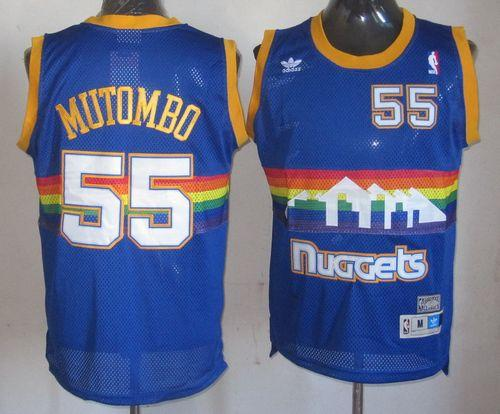 Nuggets #55 Dikembe Mutombo Light Blue Throwback Stitched NBA Jersey